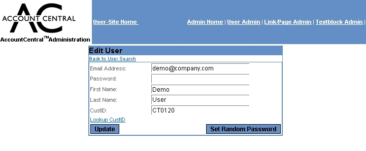 Account central user administration screen guide for Password change email template